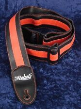 REBEL FANCY FAUX LEATHER GUITAR STRAP GTO SERIES BLACK / RED