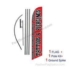 Tattoos and Piercings 15' Feather Banner Swooper Flag Kit with pole+spike