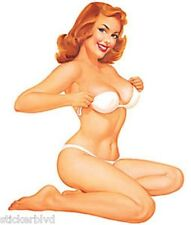 Retro Sexy Redhead Girl Ginger Stickers Set of 2 Rare & OOP Art: Baron Von Lind
