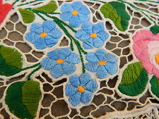 Vintage Hand Embroidered  Net Table Mat 22x64cm N1