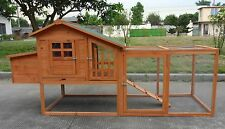 "Large 85"" Deluxe Solid wood Hen Chicken Cage House Coop Huge w Run nesting box"