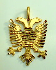 Brand New 14K Yellow Gold Albanian Eagle Symbols Charm Pendant