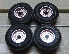 For Slotcar Racing Model railway 4 Rims with Tyres for Flat chain motor