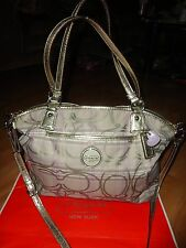 COACH Tartan Plaid Lilac/Gold w/Metallic Trim XL Convertible Satchel Bag/~RARE