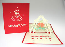 3D Pop Up Christmas Greeding Card Xmas Christmas Bells Flowers Unique For Her