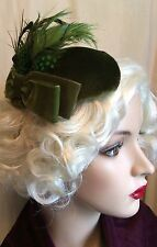 CHAPEAU JULES VINTAGE HAT MOSS GREEN VELVET FEATHER HAT ASCOT GOODWOOD WEDDING