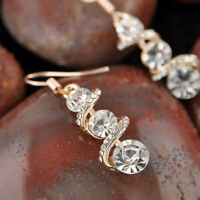 New Gold Plated Elegant Dangle Drop Ear Hook Crystal Earrings Party Jewelry Gift