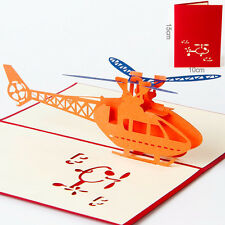 3D Pop Up Helicopter Jet Airplane Greeting Cards Happy Birthday Merry Christmas
