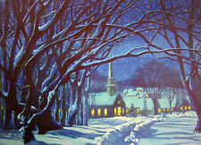 "vintage ""Silent Night"" Moon light Winter Church Scene"