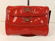 NWT MARC JACOBS RED CHERRY PATENT LEATHER POSH TWO TURNLOCK FLAPS CLUTCH $228