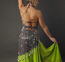 costume danse orientale Papillon noir argent 2 pièces bustier et ceinture NEUF