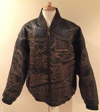 Rare VILANTO Embroidered US Cities Black Leather Bomber Jacket Topstitched 3XL
