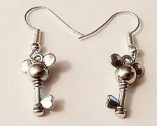 MICKEY MOUSE HEAD TOPPED KEY  Silver Charm Earrings