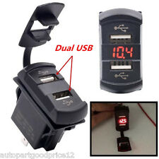 12V Dual Port USB Charger Socket Car Boat Red LED Voltmeter Rocker Switch Panel