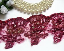 "3"" Burgundy Red Sequins Beads Embroidered Flowers Fringe Lace Trim -T999"