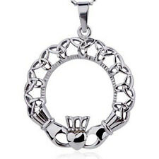 Irish Claddagh Oval Pendant Triquetra Celtic Tribal Crown & Heart Necklace Charm