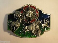 Native American Indian Buffalo Hunt Scene Belt Buckle Skull Bow Arrow Feathers