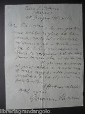 Autografo Giovanni Papini Pieve di Santo Stefano1935 Puccini Mario Carducci