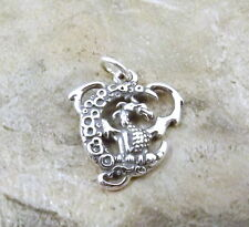Sterling Silver Dragon On The Moon Charm - 0076