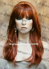 Long FACE FRAME silky straight WIG with Blunt cut Bangs RED MIX  WASR R147