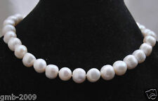 "Genuine Natural 11-12MM White Akoya Freshwater Pearl Necklace 18"" AAA++"