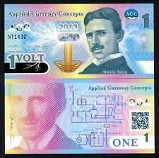 ACC, 1 Volt, 2013, Promotional / Advertising Polymer Note, UNC Nikola Tesla