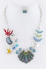 ED21 Under The Sea Aquatic Crab Druzy Seashell Blue Green Statement Necklace