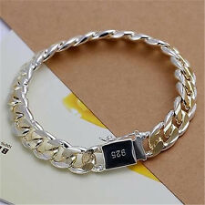 Sterling Gold Silver 10MM Square Agraffe Men Chain Charm Bangle Bracelet 8""