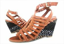 New  Guess SCHYLER Woven Strappy Wedge Sandal Heel Shoe  women's sz 8