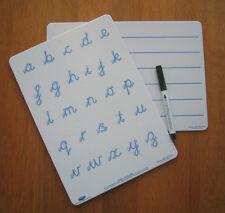 Tableaux blancs duo set (1x cursive écriture & 1x doublé) dyslexie dyspraxia sen