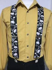 "New, Men's, Lightning & Skulls on Black, XL, 2"", Adj. Suspenders / Braces,  USA"
