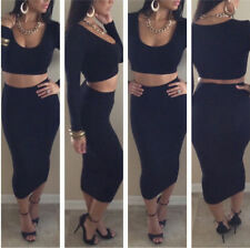 Ladies Black Two Piece Set Long Sleeve Crop Top and Bodycon Skirt Size M 10 -12)