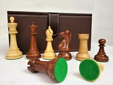 "VINTAGE-MODERN ? CHESS SET CLUB SIZE STAUNTON PATTERN K 4"" + FAUX LEATHER BOX"