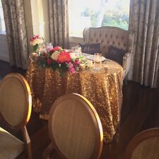 "90"" x 132"" Gold Sequin Linen for Wedding Sweetheart Table (6 Ft. Table)"