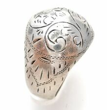 Vintage Sterling Silver Dome Ring Band Hand Engraved Size 4.5 Siam 925 Domed