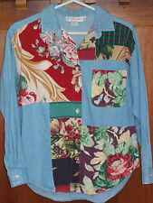 Denim Shirt Womens L Petite 14-16 Patchwork Floral Top Long Sleeves Blouse WS242