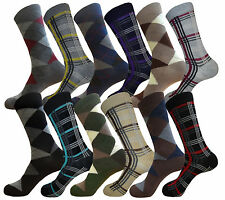 LOT OF 12 FASHION PATTERN FORMAL SOCKS MENS DRESS SOCKS SIZE 9-11 COTTON SOCKS