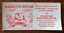 1950s Tollefson Radiator Repair Service Advertising Blotter Minneapolis MN Used