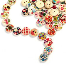 25pcs Mixed Colors Wooden Buttons Shabby Retro Flower Print Sewing Scrapbookings