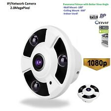 P2P Fisheye Full View HD PoE 1080P 2MP IP Camera 1.7mm Wide Lens Day&Night