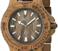 PRE-OWNED $119.99 WeWood Date Teak Natural Wood Analog Miyota Movement Watch