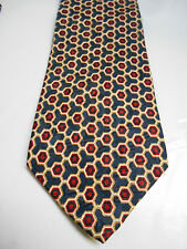 Kenneth Gordon Blue Red and Brown Geometric Print Silk Necktie