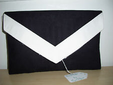 OVER SIZED BLACK AND WHITE faux suede envelope clutch bag,  fully lined BN