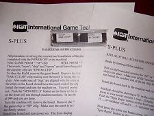 IGT S+ Plus Slot machine RAM & BV Bill Validator clear set chips w/instructions