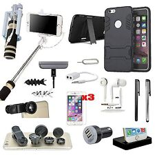 Case Cover+Charger+Monopod+Fish Eye Lens Accessory For iPhone 5 5S 5SE