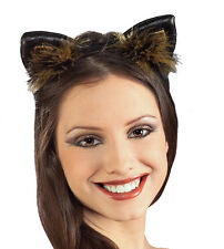Faux Leather Kitty Cat Ear Fancy Costume Party Headband Accessory with Feathers