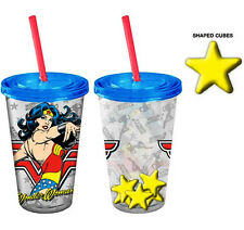DC's Wonder Woman Cold Cup Tumbler with Star Shaped Ice Cubes