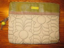 "Fossil Key Per Makeup Bag Zip Up Pouch GREEN QUILTED-9""X10"" EXCELLENT-GREAT"
