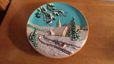 """Byron Molds 1980 """"Winter Church Countryside"""" Hand Painted Wall Relief Plate 10"""""""