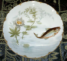 Antique Victorian Rosenthal Versailles Bavaria Fish Plate Hand Painted 1898~1906